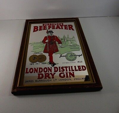 Genuine BEEFEATER London Distilled Dry Gin Wall Mirror Bar
