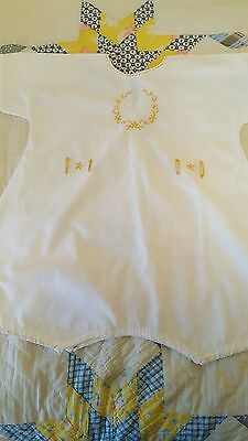 Vintage 1930's Baby Infant Romper, white cotton, w/yellow embroidery, very nice!