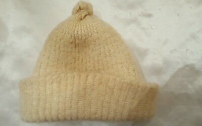 Vintage Child's wool knitted hat, off white, from 1920's.