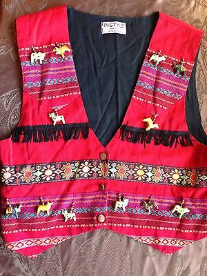 INSTYLE New York, Women's Size M Festive Indian Vest. Embroidered