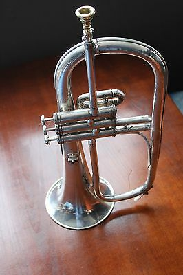 RARE SILVER PLATED FLUGELHORN COUESNON - Made in Paris France Middle 40's