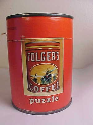 Vintage 1950's Folger's Coffee advertising Puzzle in Coffee tin unopened A+A+A+
