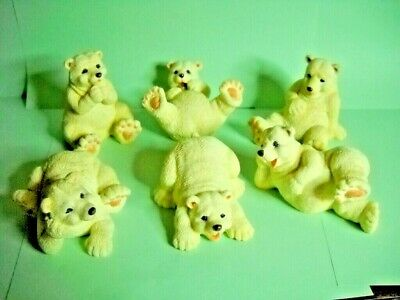 """POLAR BEAR FIGURINES, 3"""" to 4"""", Hand Painted, SET OF 6"""