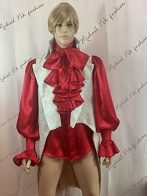 Mens Satin Steampunk Front Cascade Ruffle Cravat Shirt in S M L XL XXL 3XL