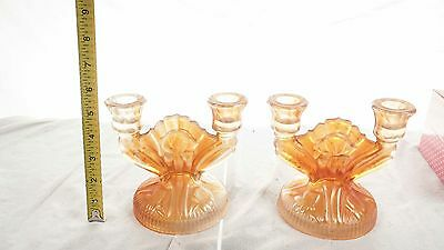 Set Of 2 Double Marigold Amber Carnival Glass Candle Holders