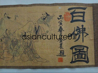 Exquisite old Chinese silk paper Painting Scroll Of Hundred Buddha LM452