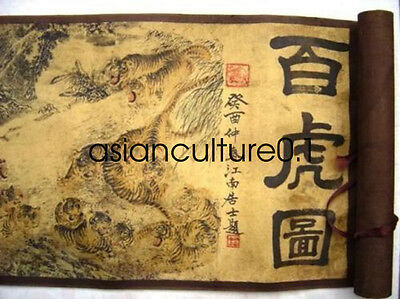 Collection decoration Chinese Painting Scroll Of Hundred 100 Tigers LM395