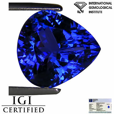3.08 Ct IGI Certified AAA Natural D Block Tanzanite Blue Violet Pear Cut