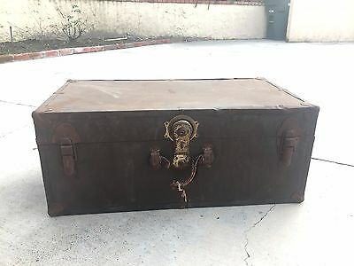 Vintage Military Style Footlocker Trunk Chest Storage Case with Shelf Insert
