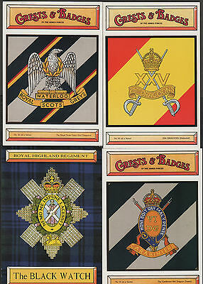 k2263)          4  x   MILITARY POSTCARDS - CRESTS & BADGES OF THE ARMED FORCES