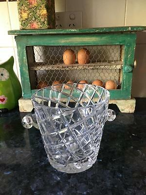 Vintage Exquisite  Crystal Ice Bucket - Diamond Cut  - Gorgeous - Collectable