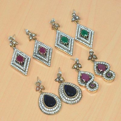 925 Solid Sterling Silver &brass Wholesale 4Pair Ruby Turkish Studd Earring Lot