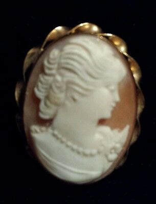 Petite and Beautiful Handcarved Cameo Pin/Pendant Set in 10K Yellow Gold