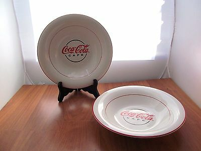 Pair Set 2 Coca-Cola Cafe Gibson Soup/Salad Cereal Bowls Coke Collectibles
