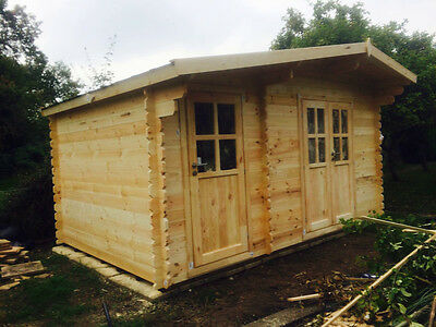 DUKE Log Cabin 4.5 x 3m, Garden Shed, Storage - 2 in 1!