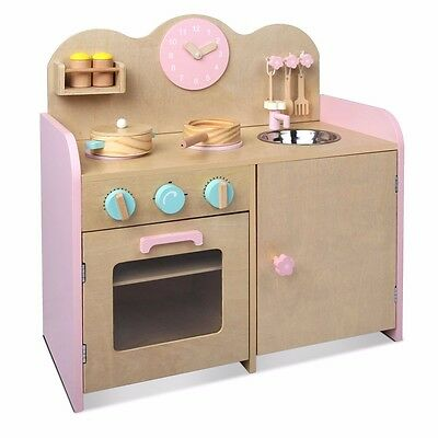 Kids Wooden Kitchen Pretend Play Set Toy Children Toddlers Cooking Home Cookware