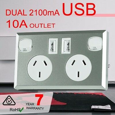 10A Double Australian USB Power Point Supply 2 Socket Switch Wall Plug Silver