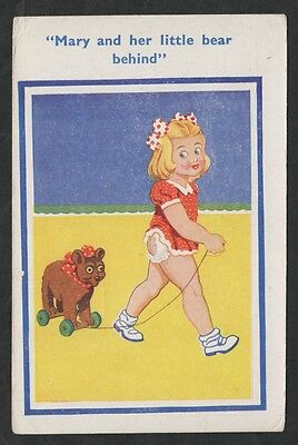 k1988)                  1960s COMIC POSTCARD -  MARY AND HER LITTLE BEAR BEHIND