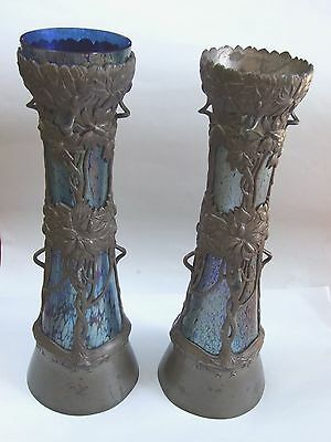 Art Nouveau Pair Loetz Iridescent Glass Vase Pewter Mounted Floral DesignH16.''