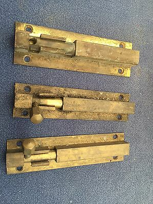 3x Antique Square Polished Brass Bolts 100mm