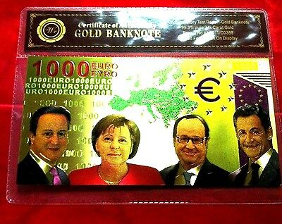 1000 Euro 24Kt Color Gold Banknote Rare Collectable Bank Note 24Kt Gold