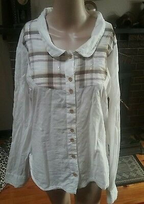 Roxy Ladies Country Shirt Top Blouse  Checked Size 14 Longsleeves Vgc Cotton