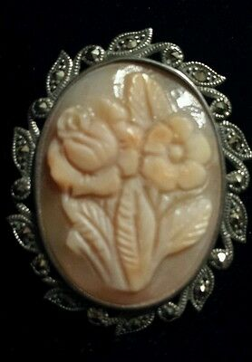 Sterling Silver Marcasite Handcarved FLORAL Cameo Pin/Pendant, Not Old, SOLID