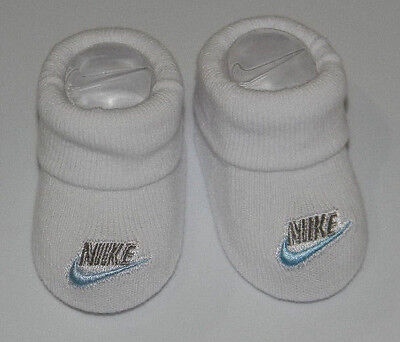New Nike White Silver Blue Sz 0-6 Mos Infant Baby Bootie Socks