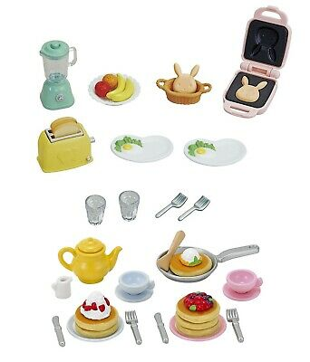 Two Sylvanian Families Sets - Food Theme -  Breakfast and Pancake Sets
