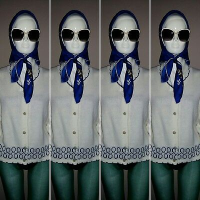 Vintage 1960's White and Blue Cardigan by Prova. Size 18.