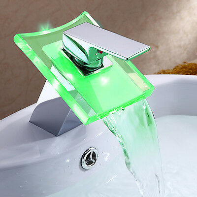 New LED Waterfall Bathroom Square Glass Faucet Sink Basin Mixer Chrome Water CA