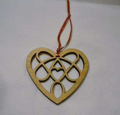 Pretty Hanging Wood Cut Out Heart Decoration.