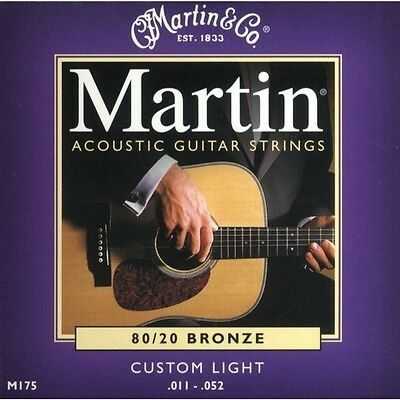 Martin M175 Acoustic Guitar String 80/20 Custom Light .011-.052