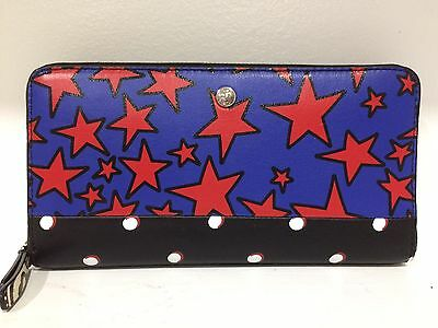 Authentic Marc Jacobs Leather Blue Web Multi Zip Around Wallet NWT Tag $238 Sale