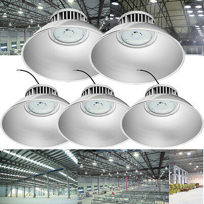 5x 100W LED High Bay Light Bright White Factory Warehouse Industry Shop Lighting
