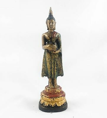 Thai Buddha Statue Brass Standing Attitude Of Holding Alms Bowl Southeast Asia