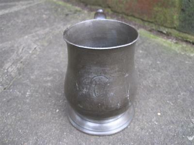 C1800 PEWTER 1/2 PINT MEASURE by Sir George ALDERSON 3 LION PASSANT HALLMARKS