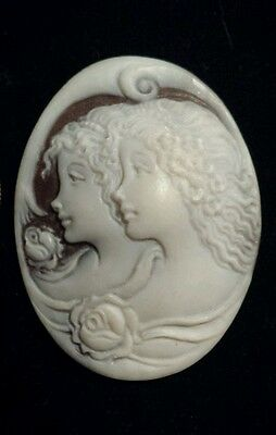 """Handcarved SARDONYX """"Muses"""" or """"Sisters""""Unframed Cameo, Signed & Dated By Artist"""