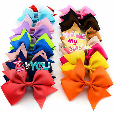 UK 20 X Alligator Clips Handmade Big Bow Hair Clip Girls Kids Sides Accessories