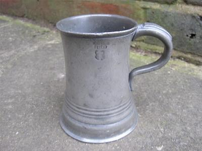 C1860 PEWTER 1/2 PINT MEASURE by L & R MERRY DUBLIN BELFAST EXCISE MARK