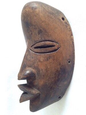 Most Interesting Old Very Small Carved African Face Mask-Good Condition