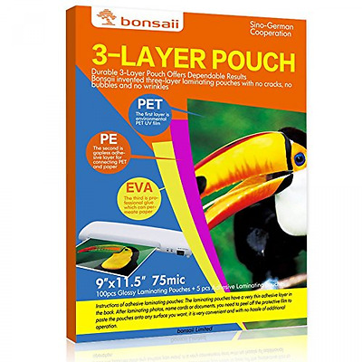 "Apache Thermal Pouches Laminating 100 Count Paper Letter Sheet 3 Mil 9"" x 11.5"""
