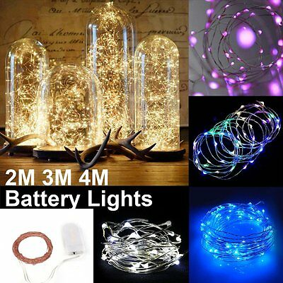 2/3/4M Battery Operated Lights 20/30/40LED Micro Silver Wire Waterproof Fairy DA