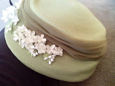1950,s green straw hat with white flowers by Joli Chapeau