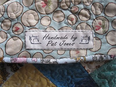 Uncut Custom Quilt / Sewing Labels - personalised fabric labels, tags - 10 Label