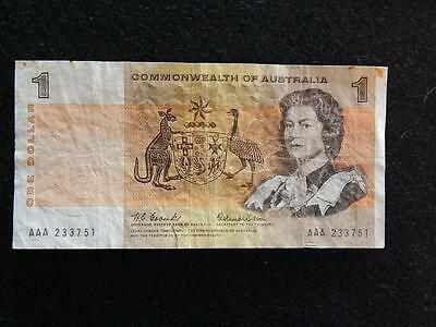 1966 Coombs / Wilson Commonwealth Of Australia $1 Note (Aaa First Prefix)