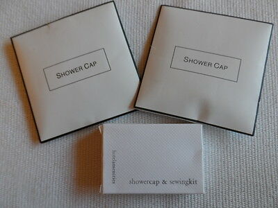 Three Disposable Shower Caps & Sewing Kit