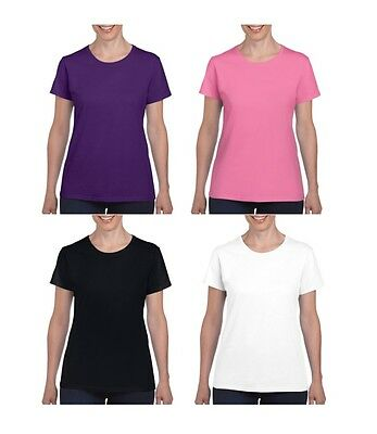 Gildan Heavy Cotton Ladies T Shirt Top Womens Girls Plain Sizes + Colours