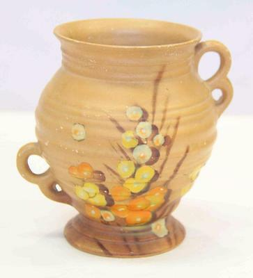 Denby Vase 5.5 inches tall Blossoms and Fruit Motif #11257