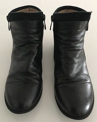 Girls Red Bootie Leather Ankle Boots Size 38